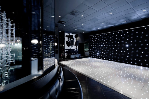 white and black starlit LED floor